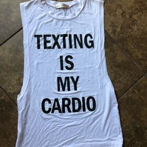 Tops - CLEARANCE ♦️Open Side Tank Texting is my cardio
